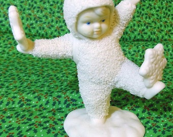 Department 56 Snowbabies It's Snowing Porcelain Figurine in Box Snowbaby Catching Snowflakes