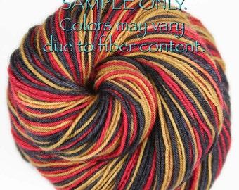 "Dyed to Order: Self striping sock yarn - ""RED - GOLD -BLACK"" - Football Hockey Sports School Team colors - San Francisco, Ottowa"