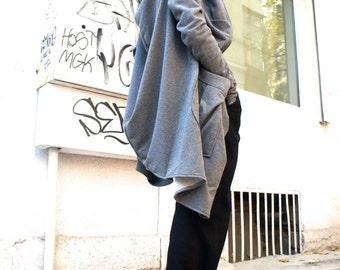 Asymmetric Light Grey Extravagant  Hoodded Coat / French Terry Cotton zipped Jacket A07018
