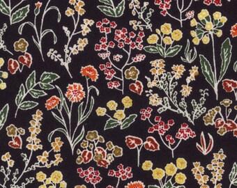 "Tess and Rosa D Liberty Fabric tana lawn 10"" x 10"" square (25,4 cm x 25,4 cm) black green orange yellow The Weavers Mill"