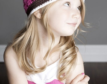 """Crocheted Beanie Hat """"The Hadley"""" Hot Pink Chocolate White Flower Trim Open Weave Hat"""