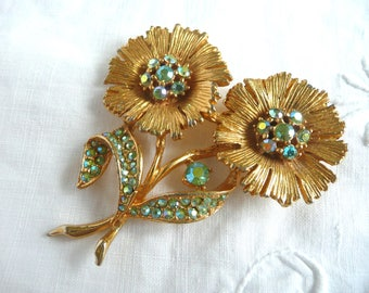 Vintage flower brooch - blue rhinestone flower brooch - brushed gold metal and rhinestone brooch - mid century brooch