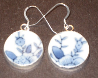 Roses are Red, Violets are Blue Round Porcelain upcycled pottery shard earrings Ming Dynasty on Sterling Silver Earwires