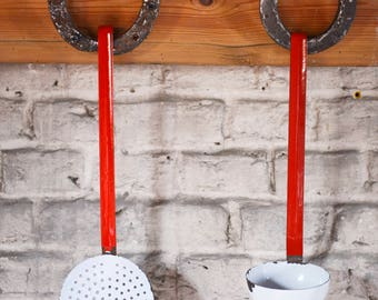 Enamelled kitchen utensils - cooking tools red and white - from France