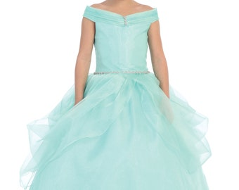 Off Shoulder Sleeve Bodice Dress with Glitter Tulle