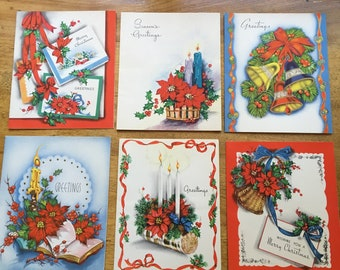 Vintage Christmas Cards - 6 Cards, Traditional Holiday Cards, Merry Christmas, Season's Greetings - Ribbon, Candles, Snow, Bells, Poinsettia