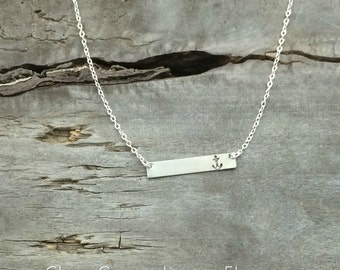 """Bar Necklace with Anchor - Includes Sterling Chain - 18/19"""" - Hand Stamped Jewelry"""