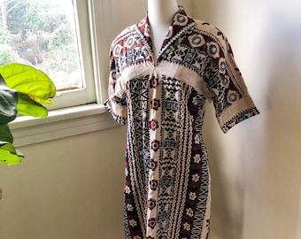 Vintage Pullover Dress in Native Hawaiin, Tiki Print