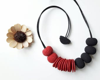 black and red necklace,polymer clay necklace,beaded necklace, large beads, coral texture,modern necklace