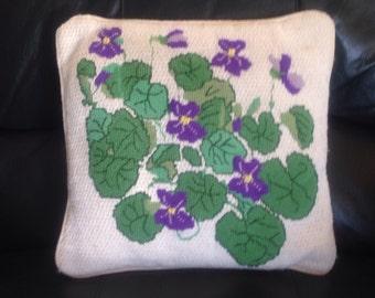 Violets Vintage Needlepoint Pillow