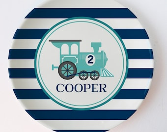 Train Plate, personalized with name and age, aqua and navy