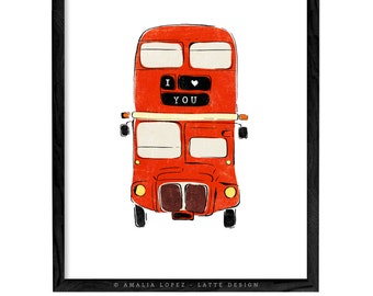 I love you print Valentines print Valentines gift Love print Love poster San Valentine London bus print London bus illustration London print
