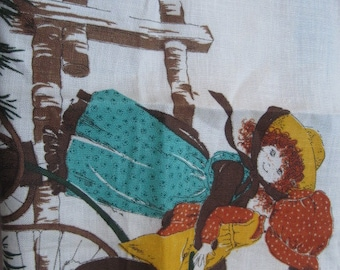 Vintage Holly Hobbie Linen Tea Towel