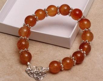 Beautiful Orange Cornelian Adjustable Bracelet