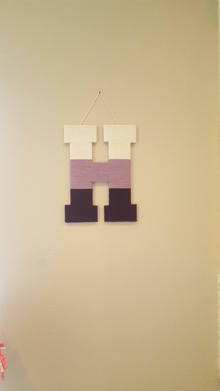 Nursery Letter H Ombre Purple Yarn Letter Lavender Wood