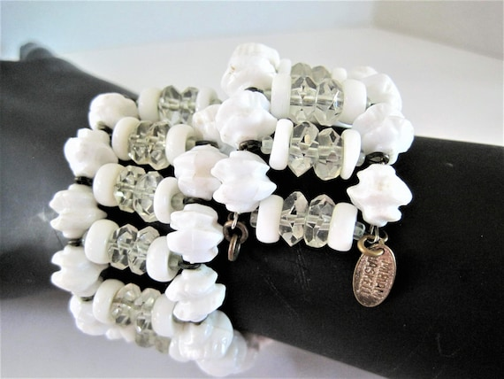 Miriam Haskell Bracelet, Signed White Lucite, Memory Wire, White Bead, Classic Wrap