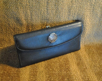 Checkbook Genuine Leather Wallet Reimagined Black with silver Celtic Cross Concho