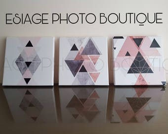 3 Pack of Geometric print, Triangles print, Pink black, rosegold and silver, Triangle decor, Minimalist print, Triangles poster prints
