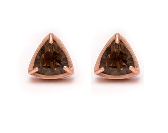 Trillion Cut Studs - Rose Gold Stud Earrings - Smoky Quartz Studs - Gemstone Stud Earrings - Prong Set Studs with Bezel RIm