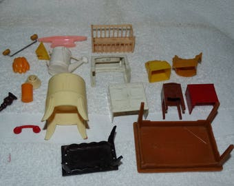 Vintage Renwal Dollhouse Miniatures, Misc. broken pieces, repairs, extras