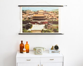 Beijing Poster, China Print, Pull Down Chart, Roll Down Map, School Poster, Poster Vintage, Living Room Wall Art, Roll Down Poster, Boho
