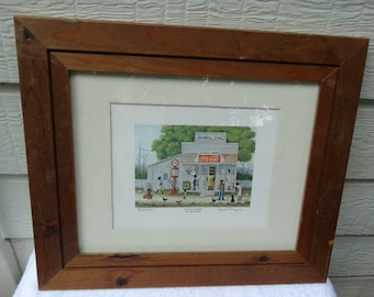 """Jack Meyers, Vintage signed and numbered offset lithograph titled """"Country Store"""" by Jack Meyers (1930 -1994). 368/925, Coca Cola Sign"""