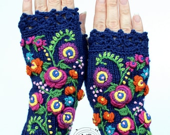 Navy Blue Embroidered Gloves, Fingerless Gloves, Blue Mitts, Rainbow Colors, Bright Colors, Gloves & Mittens, Gift Ideas, For Her, Accessory
