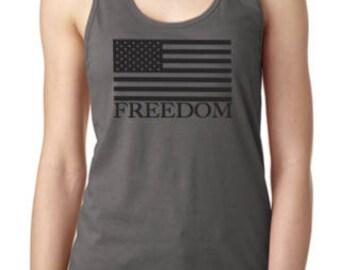 Grey Freedom Razorback Tank Top