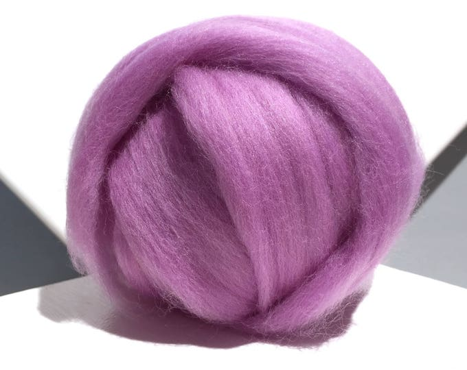 Featured listing image: Orchid Merino Wool Roving, light purple wool roving, Needle Felting, Spinning Fiber, lavender pink Merino roving,