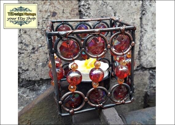 Portavelas set 3, Candelabro votive, Soporte velas votive, Decoración velas ideas, Soporte velas en rojo, Votive candelabro, Portavelas rojo
