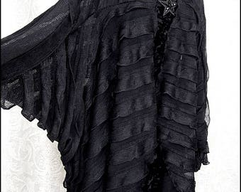 Suspiria - Sheer Black Ruffled Batwing Midi-Length Cocoon Jacket ~ Brand New by Kambriel