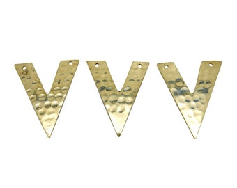 """Hammered Brass """"V"""" Shaped Double Drilled Pendant  (S52B17b-02)"""