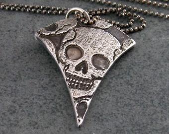 Skull pendant, handmade OOAK recycled fine silver smiling skull necklace, Halloween-OOAK
