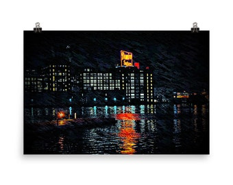 Limited Edition, Domino Sugars, at Night, Baltimore Skyline, Museum Quality, Poster Print