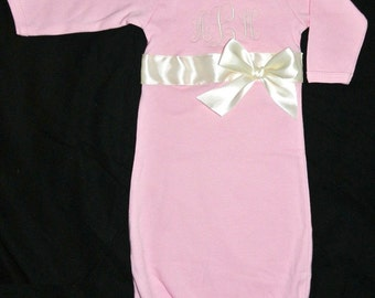 Girl's Monogrammed Baby Infant Gown Sack Sleeper in Light Pink with Optional Ribbon and Bow