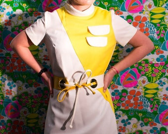Vintage 60s Yellow and White Mod Dress