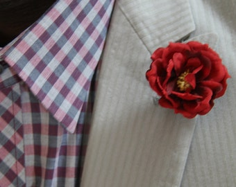 "Red floral men's lapel pin with yellow center accent ""Ben"""