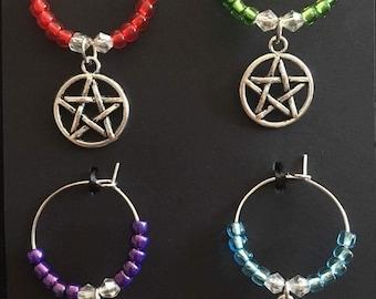Pentagram wine glass charms