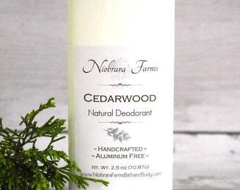 Natural Deodorant for Men - Natural Cedarwood Deodorant Stick - Aluminum Free Mens Deodorant - Handmade Deoderant - 2.5 oz. Stick Deodorant