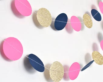 Navy Pink and Gold, 10ft, Paper Garland, Birthday Party Decor, Wedding Decor, Shower Decor, Nursery