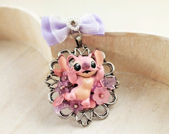Kawaii Angel space alien Necklace with Bow in Pink Lolita fairy kei