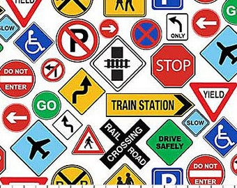 Traffic Signs on White from Northcott's Connector Playmats Collection