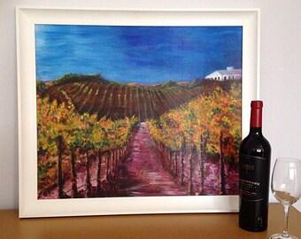Vineyard painting, California Vineyard Painting, Sonoma Vineyard Painting, Wine Art, Wine Lover Gift, Vines, Original Acrylic Painting,