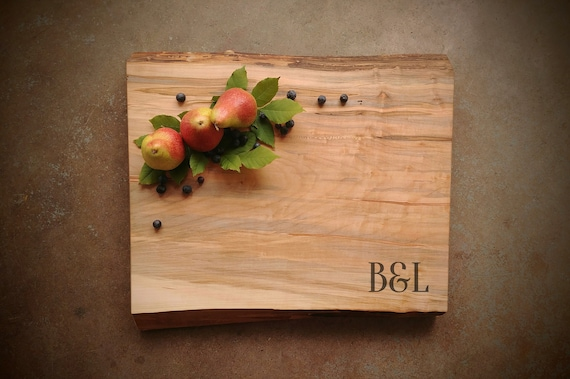 Personalized Cutting Board XLarge Thick Live Edge  *One of A Kind* Maple