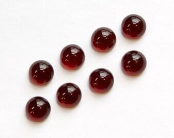 Dark Ruby Red Glass Cabochons 7mm No Foil cab701FF