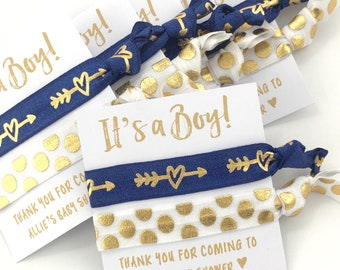 Baby Boy Shower Favors | It's A Boy | Boy Baby Shower | Hair Tie Favors | Navy Blue and Gold | Custom Baby Shower Favors | Oh Baby | Favors