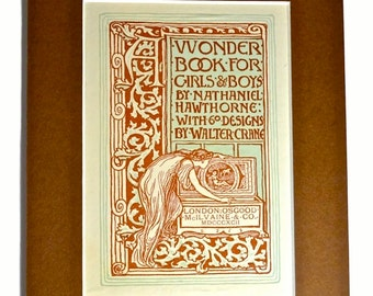 1892 Walter Crane Book Illustration of Pandoras Box, Art Nouveau Matted Print Antique Wall Art Engraving, Brown Decor - Greek Mythology,