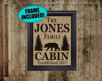 Framed Burlap Cabin Sign - Cabin Wall Decor - Personalized Cabin Signs - Lodge Decor - Black Bear Decor - Custom Cabin Sign - Burlap Print