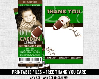 FOOTBALL TICKET INVITATIONS Birthday Party + Thank You Card - Any Age (print your own) 50 Yard Line Personalized Printable Files