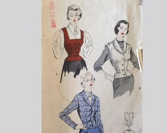 Vintage 50s Fitted Jacket Blazer Shawl Square Collar Wasp Waist Weskit Sewing Pattern 4835 B32